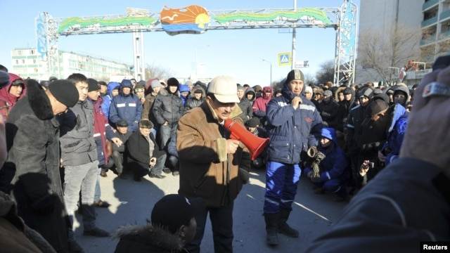 Protesters gathered in the provincial capital, Aktau, on December 18 (pictured) and again on December 19.