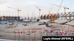 مراحل العمل في الملعب الرئيس لمدينة البصرة الرياضية