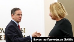 Новый и бывший министр культуры - Ольга Любимова и Владимир Мединский