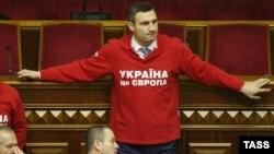 Лидер оппозиционной партии «УДАР» Виталий Кличко в Верховной Раде. киев, 21 ноября 2013 года.