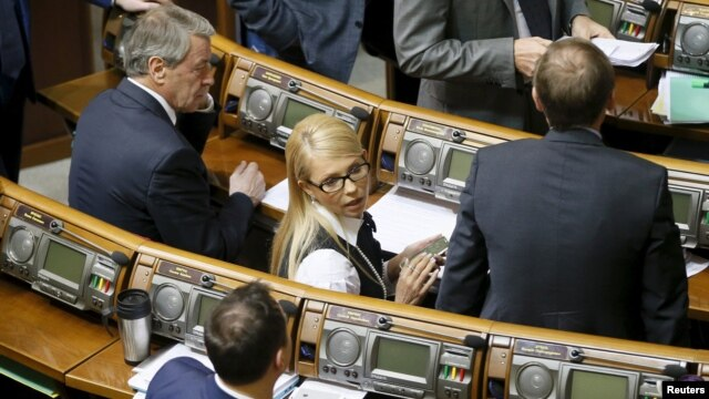 Yulia Tymoshenko attends a parliament session in Kyiv on February 16.