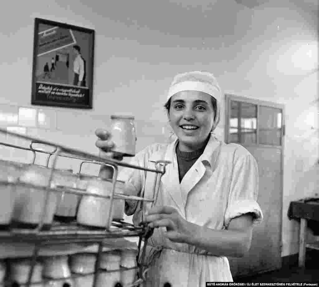 A young worker at a dairy in Targu Mures in 1967.