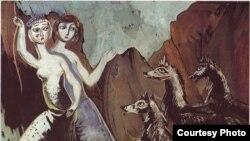 """""""Белые девушки и черные волки"""", 1965 год, 65 х 50, бумага, гуашь"""