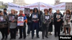 Armenia -- Relatives of people killed in the March 2008 post-election clashes protest in downtown Yerevan, 7 April 2010.