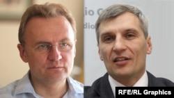 Кандидати на посаду міського голови Львова Андрій Садовий (ліворуч) та Руслан Кошулинський