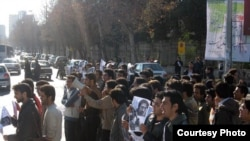 Shiraz University students stage a protest on January 5 in an effort to gain the release of their colleagues.