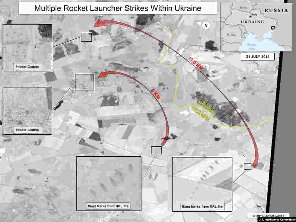Multiple Rocket Launcher Strikes within Ukraine - July 21. This slide shows ground scarring at two multiple rocket launch sites oriented in the direction of Ukrainian military units. The wide area of impacts near the Ukrainian military units indicates fire from multiple rocket launchers. The bottom impact crater inset shows impacts within a local village.