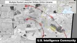 نقشهای از نحوه شلیک چندین موشک از خاک روسیه به شرق اوکراین که آمریکا منتشر کرده است.