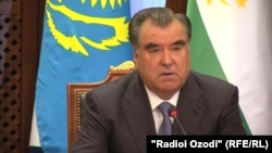 "Tajik president Emomali Rahmon removed the Slavic ""-ov"" suffix from his name in 2007. (file photo)"
