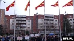 Протест на стечајците пред владата
