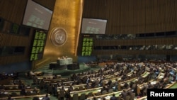 Members of the UN General Assembly vote to endorse the Arab League's plan for Syria's president to step aside at the UN's headquarters in New York on February 16.