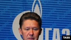 Gazprom CEO Aleksei Miller at the annual shareholder's meeting at Gazprom headquarters in Moscow on June 26