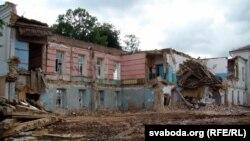 Знос будынка 18 стагодзьдзя, у якім засядаў чэрыкаўскі магістрат.