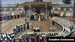 Аудиенция у султана Селима III. Турецкая миниатюра конца XVIII века.