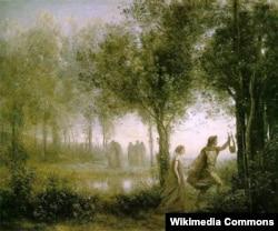 Жан-Батист Камиль Коро. Орфей, выводящий Эвридику из царства мертвых. 1861