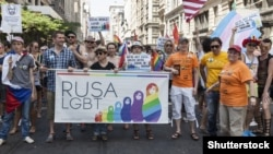 Protesters march against the Russian government during the Pride Parade in Manhattan in June 2013.