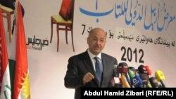 برهم صالح متحدثاً في معرض أربيل الدولي للكتاب