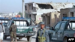 The scene outside Kandahar prison after a major escape of prisoners in 2008 (file photo)