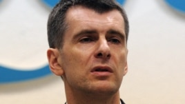 Mikhail Prokhorov at his press conference in Moscow on December 12