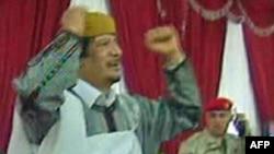 од телевизиското обраќање на Гадафи
