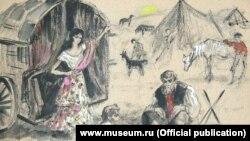 Эскиз декорации к спектаклю по поэме А.С. Пушкина «Цыганы»