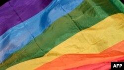 Фрагмент радужного флага ЛГБТ-сообщества.