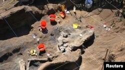 Останки мамонта на раскопках в Мексике