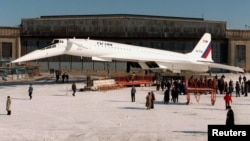 A TU-144 is rolled out during a ceremony at the Tupolev test airfield in Zhukovsky, outside Moscow.
