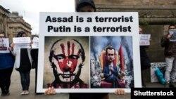 Böyük Britaniyada Bashar al-Assad və rusiyalı hımkarı Vladimir Putinə qarşı etiraz, iyun, 2019-cu il