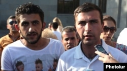 Armenia - No To Plunder leaders Vaghinak Shushanian (R) and Maxim Sargsian speak to journalists, Yerevan, 29Jun2015.