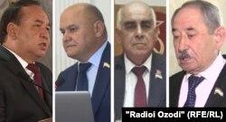 Тәжікстан президентіне кандидаттар (солдан оңға): Рустам Рахматзода, Рустам Латифзода, Миродж Абдуллоев және Абдухалим Ғаффоров.