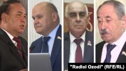 Кандидаты в президенты Таджикистана (слева направо) Рустам Рахматзода, Рустам Латифзода, Миродж Абдуллоев и Абдухалим Гаффоров