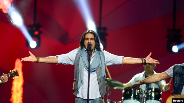 Armenian rock band Dorians performs during the second semifinal of the 2013 Eurovision Song Contest.