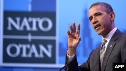 Американскиот претседател Барак Обама по завршувањето на дводневниот самит на НАТО во Чикаго, 21.05.2012.