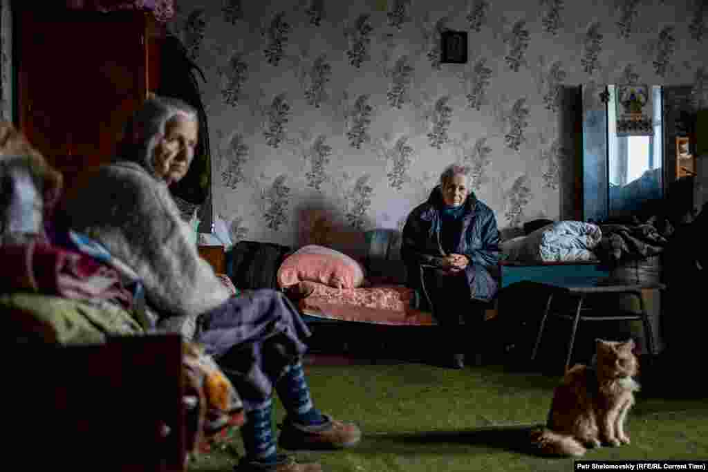 Raisa Kazakova shares her flat with nine other pensioners whose own homes were destroyed.