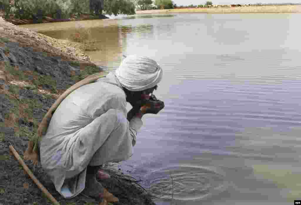 A man drinks from a stream near Bahawalpur in Pakistan's Cholistan Desert.