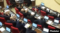 Armenia - Pro-government deputies vote for a controversial Russian-Armenian gas agreement, Yerevan, 23Dec2013.