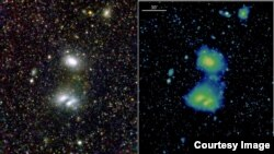 The first composite images from the Max Planck Institute for Extraterrestrial Physics' eROSITA show a neighboring galaxy, the Large Magellanic Cloud, and two interacting clusters of galaxies at a distance of about 800 million light years from Earth.