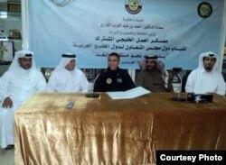 Боксер Аслан Муканов на подписании контракта с Федерацией спорта Катара. Апрель 2012 года.
