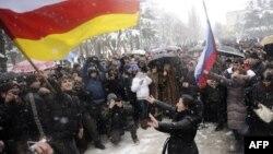 Митинг сторонников Джиоевой в Цхинвали