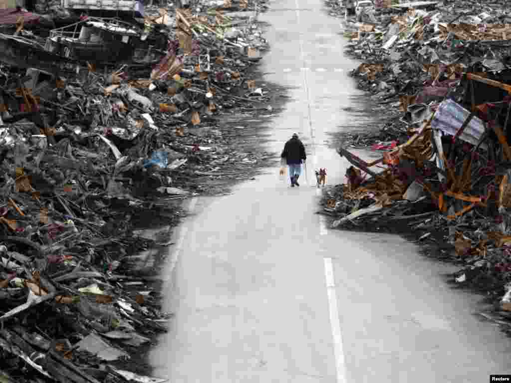 A man walks with his dog at a destroyed residential area of Kesennuma, Miyagi Prefecture, nearly two weeks after the area was devastated by a magnitude 9.0 earthquake and tsunamiPhoto by Issei Kato for Reuters