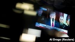 تصویری از سخنرانی دونالد ترامپ پس از حمله موشکی ایران به یک پایگاه نظامی آمریکا در عراق