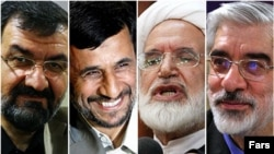 Iran's presidential hopefuls: Mohsen Rezai (left to right), incumbent Mahmud Ahmadinejad, Mehdi Karrubi, and Mir Hossein Musavi.