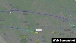 Маршрут літака, за даними сайту Flightradar24