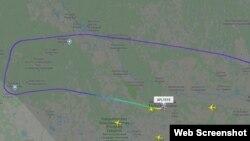 Маршрут авиарейса Сургут-Москва в трекере Flightradar
