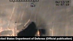 A U.S. military image released by the Pentagon in Washington on June 17, which it claims bolster allegations that Iran was responsible for attacks last week on two oil tankers in the Gulf of Oman.