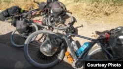 TAJIKISTAN -- the bicycles of tourists are seen in the place of attack in South Tajikistan, where four foreign cyclists were killed, Dangara district, July 29, 2018