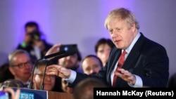 Մեծ Բրիտանիայի վարչապետ Բորիս Ջոնսոնը հաղթանակից հետո հանդիպում է աջակիցներին, Լոնդոն, 13 դեկտեմբերի, 2019թ.