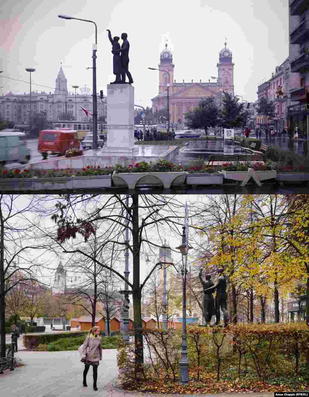 Debrecen 1972-2019 A memorial to Soviet soldiers that once towered over a central square in the eastern city of Debrecen (top). The monument originally featured the names of dead Red Army soldiers beneath a young family welcoming the Soviet Army into Hungary during World War II. In 1993, the monument (on right in 2019 photo) was moved a few meters back from its central location, cut to a stumpier height, and the names of dead Red Army soldiers were removed. 1972 photo: Fortepan/Inkey Tibor