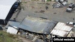 """Так выглядел КПП """"Ярине"""" на косовско-сербской границе после столкновений 28 июля 2011 г."""